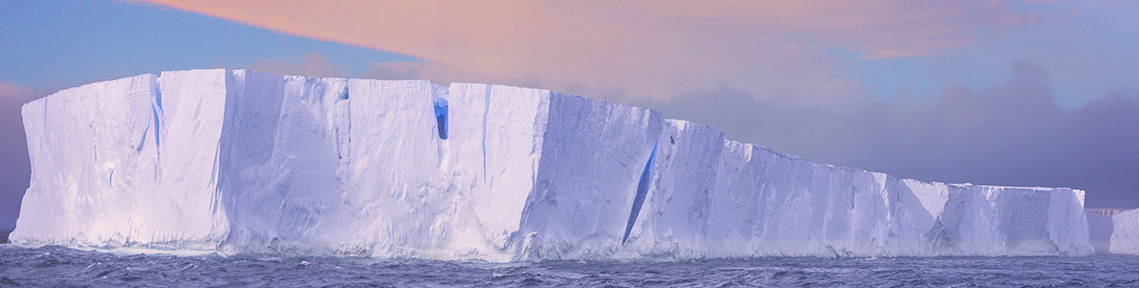 Tabular iceberg in mild weather in Antarctica