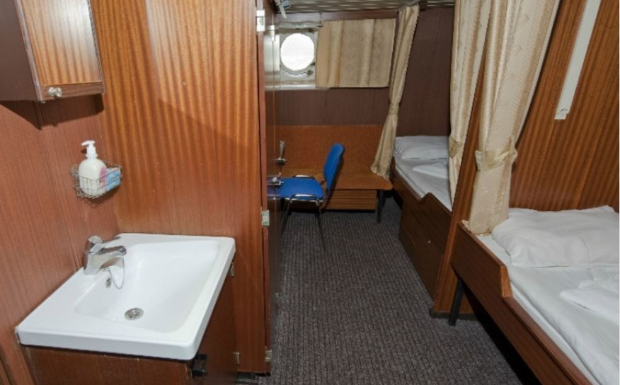 Each Cabin Comfortably Sleeps Two People And Are Only A Short Distance From The Ships Public Bathroom Facilities Outside Decks